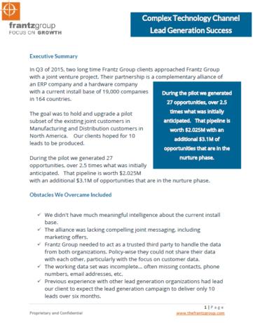 B2B Channel Marketing - Lead Generation Success for ERP & Hardware Vendors